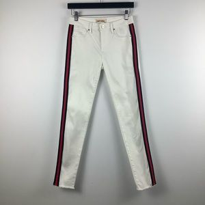 Driftwood Jackie Side Striped Skinny Jeans White